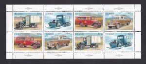 Iceland   #756-759  MNH 1992  sheet   mail trucks
