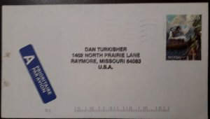 J) 1991 NORGE, HORSE AND RIDER, AIRMAIL, CIRCULATED COVER, FROM NORGE TO USA