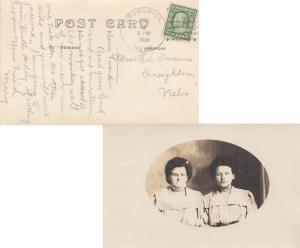 United States Nebraska Brunswick 1909 4a-bar  PPC (Real Photo showing two wom...