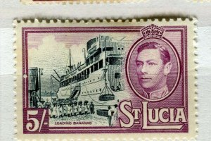 ST. LUCIA; 1938 early GVI issue Mint hinged 5s. value