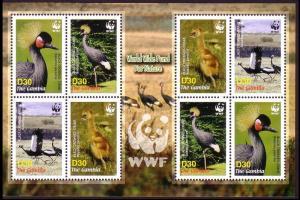 Gambia Birds WWF Black Crowned Crane Sheetlet of 2 sets SG#4920-4923