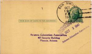 United States Arizona San Simon 1941 4f-bar  Postal card  Crease at bottom ri...