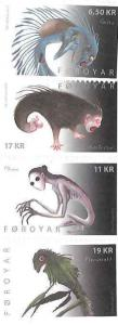 Faroe Islands - 2012 Ancient Monsters - 4 Stamp Set Scott 584-7 6F-001