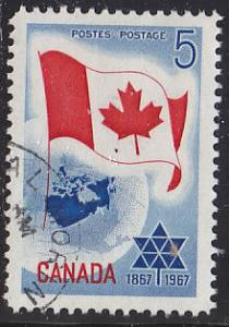 Canada 453 Hinged Used 1967 Flag & Planet Earth; Canada's Centennial Year