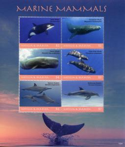 Antigua & Barbuda Whales & Dolphins Stamps 2018 MNH Marine Mammals 6v M/S