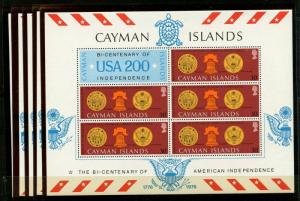 CAYMAN IS. Sc#376a 1976 American Bicentennial S/S Wholesale Lot of 5 Mint NH