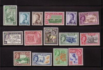 Fiji Sc 147-62 1954 1st QE II long stamp set mint