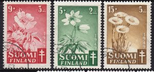 Finland 1949 Flora - Tuberculosis Fund Complete Used Set SC B98-B100