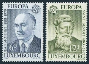 Luxembourg 641-642,MNH.Mi 1009-1010. EUROPE CEPT-1980. Jean Monnet, St Benedict.