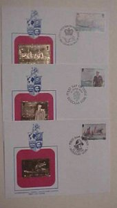 ISLE OF MAN  3 DIFF. FDC GOLD FOIL 1980-1982  CACHET UNADDRESSED
