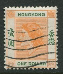 Hong Kong -Scott 194 - QEII Definitive -1954 - Used - Single $1.00c Stamp