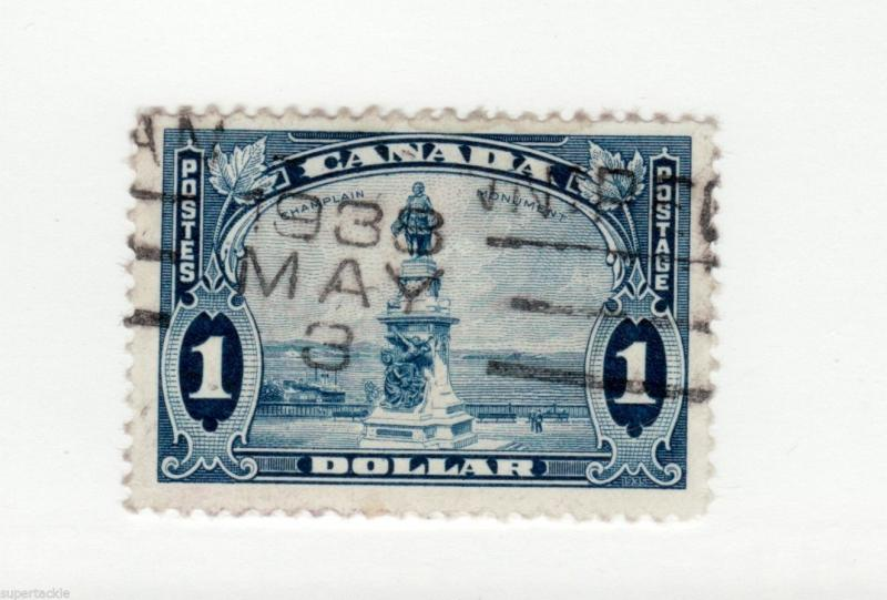Canada 1935 #227 Θ used F-VF KGV  $1 Champlain Statue. Dated roller cancel