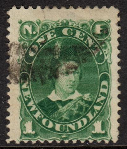 Newfoundland QV 1887 1c Blue-Green SG50 Used