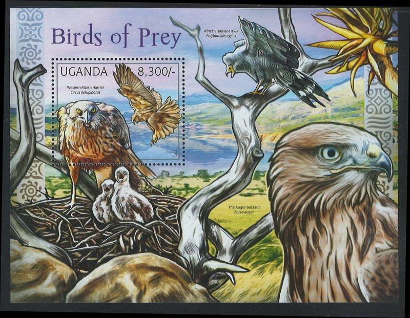 Uganda Scott 1943 MNH! Birds of Prey! Souv. Sheet!