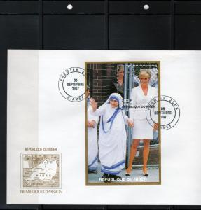 Niger 1997 Diana with Mother Teresa SS Perf. FDC  Sc# 946