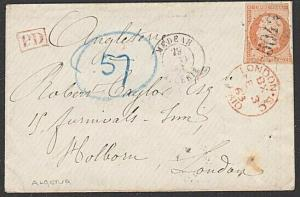 ALGERIA 1863 cover FRANCE 40c 5042 cancel of MEDEAH to London...............6667