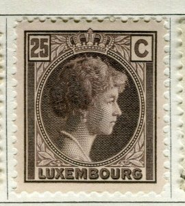 LUXEMBOURG; 1926-27 early Charlotte issue Mint hinged 25c. value