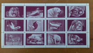 Poster Stamps Great Britain Animals of London Zoo Set of 12 Carmine MNH Perforat