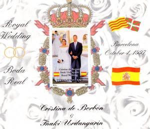 Turkmenistan 1997 Spanish Royal Wedding s/s Perforated mnh.vf