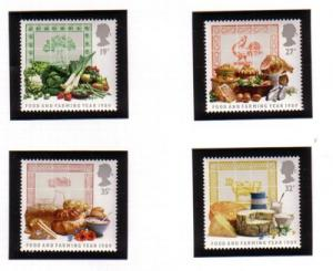 Great Britain Sc 1248-51 1989 food  & farming stamp set mint NH