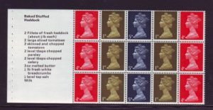 Great Britain Sc MH8b 1969  Machin cook book booklet pane of 15 mint NH