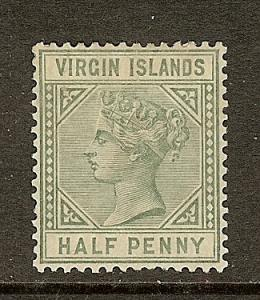 Virgin Islands, Scott#13, 1/2p Queen Victoria, VF Ctr, MH