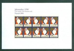 Denmark. Christmas Seal Souvenir Sheet 1958/2001 Reprint. Santa