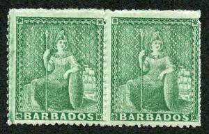 Barbados SG17 1/2d Deep Green No Wmk Clean Cut Perf 14 to 16 PAIR M/Mint