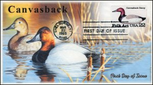 AO-2140, 1985, Duck Decoys, Canvasback, Add-on Cachet, First Day Cover, SC 2140
