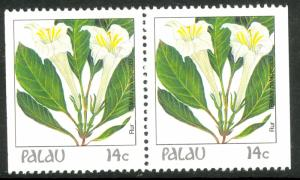 PALAU 1987-88 14c Indigenous Flowers Pair From Booklet Pane Sc 130var MNH