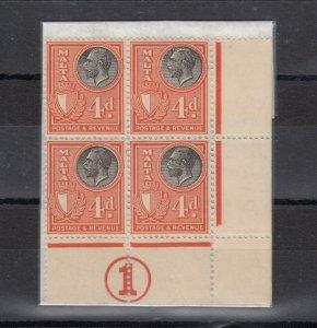 Malta KGV 1930 4d Control Block Of 4 SG200 MLH/MNH J6748