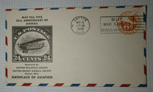 Anniv Of Airmail Bi Plane US 24c Dayton OH Philatelic Cachet Cover 1943