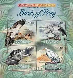 Uganda - Endangered Species - Birds of Prey - 4 Stamp Sheet - 21D-035