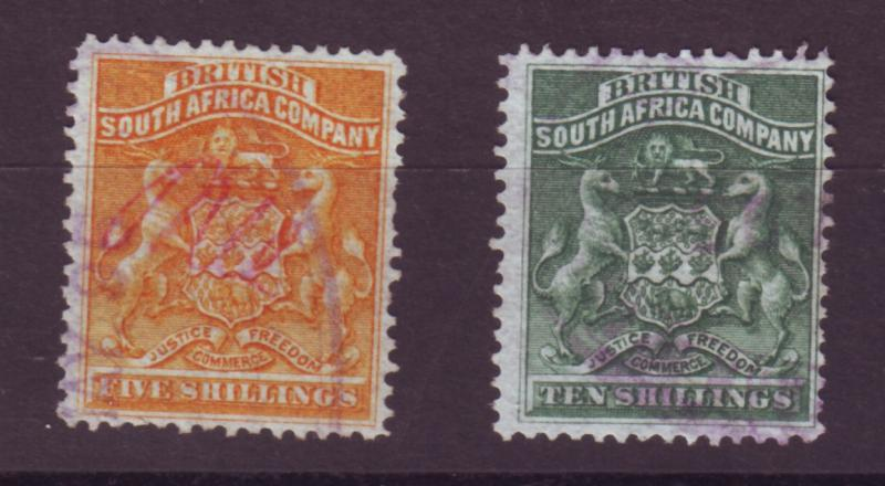 J17046 JLstamps 1890-4 rhodesia used #14-5 coat of arms revenue cancel