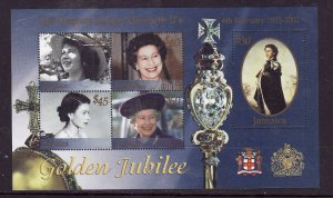 Jamaica-Sc#956-Unused sheet-QEII-50th Reign-stamps NH-selvedge hinged-2002-