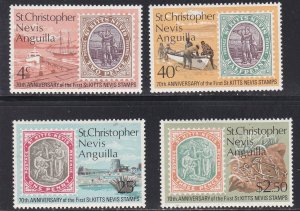 St Kitts - Nevis # 270-273, 70th Anniversary of Stamps, Hinged, 1/3 Cat.