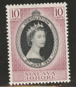 Malaya Jahore Scott 155 MNH** 1953 QE2 Coronation stamp