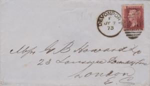 Great Britain 1d QV Plate 161 1873 Devonport 250 duplex to London.