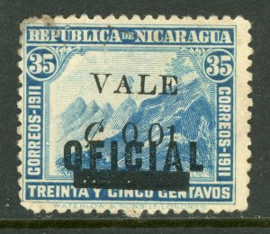 Nicaragua 1914 Liberty Overprint 1¢/35¢ Shifted OP VFUH379