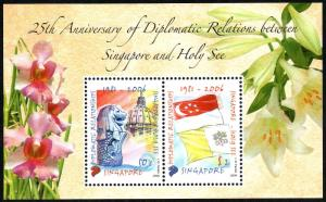 Singapore 1233a S/S, MNH. Singapore & Vatican, Diplomatic Relations. Flags, 2006