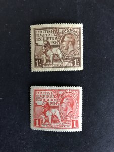 GB KGV 1924 BEE Stamp Set of Two MM.