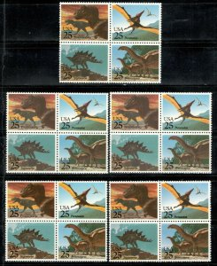 2422-25 Prehistoric Animals Wholesale Lot Of 5 Blocks Of 4 Mint/nh FREE SHIPPING