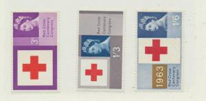 Great Britain Scott #398 To 400, Red Cross Centenary Congress Issue From 1963...