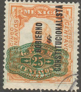 MEXICO 584, 25¢ ON 5¢ CONST..+ BARRIL SURCHARGE USED. VF. (1266)