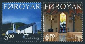 Faroe 424-425,MNH. Gotu church,2002.