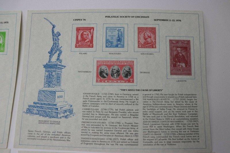 CINPEX 1974-1983 US Philatelic Exhibition Stamp show Souvenir card lot page coll
