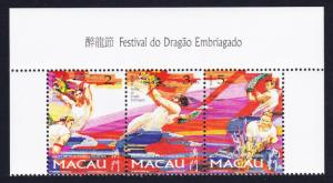 Macao Macau Drunken Dragon Festival Top strip of 3v SG#988-990 MI#913-915