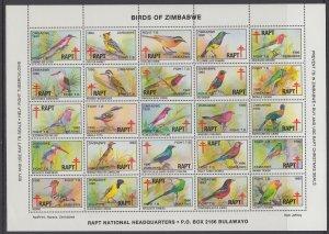 Zimbabwe Christmas Seals Birds Sheet MNH VF
