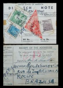 L) 1947 BRAZIL, PEOPLE, PRESIDENT, DUTRA, GREEN, COMMERCE A187, TRIANGLE RED, 40