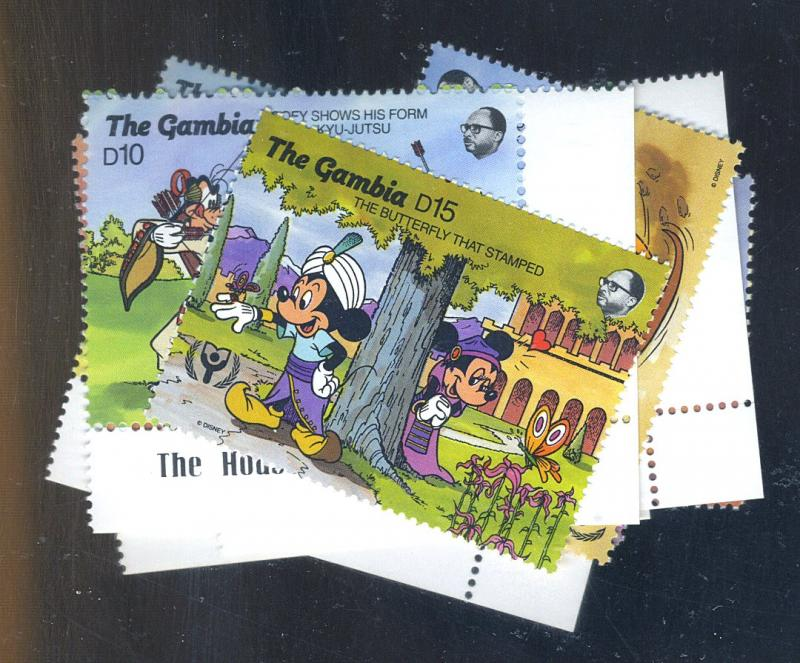 Gambia #1092-5 1096 1103,6 , 9MINT VF NH Cat$18